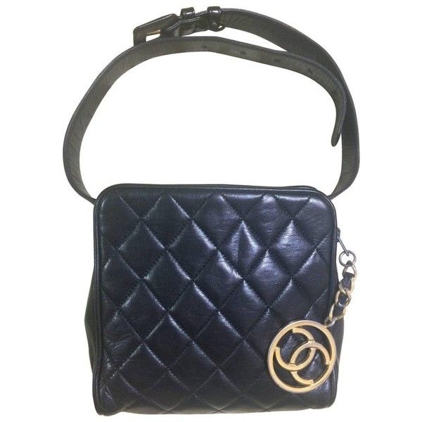 479736f3b3cc39 Preowned Vintage Chanel Black Lambskin Square Shape Waist Purse, Fanny...  ($1,220