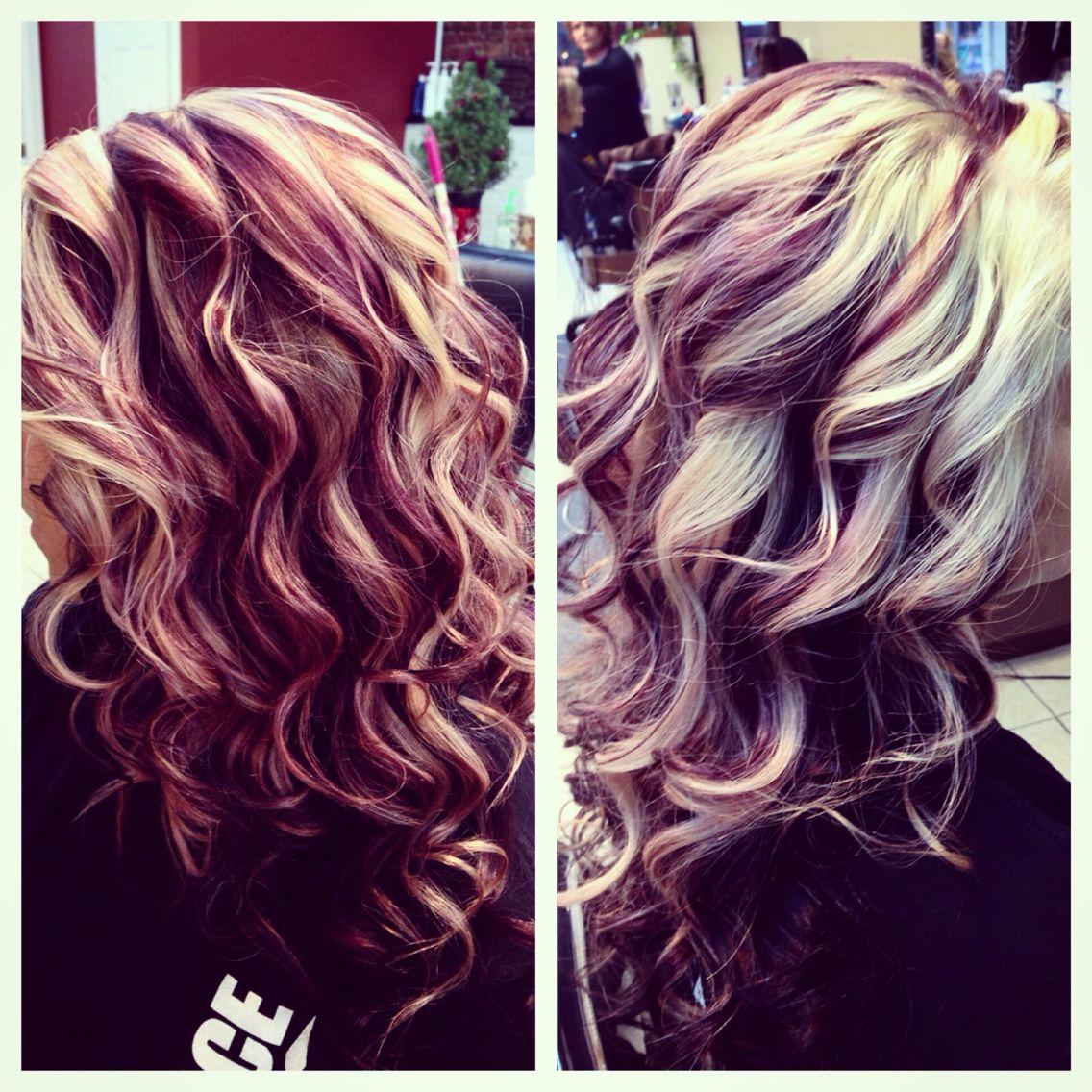 Blonde Purple Dark Brown With Red Love It Red Blonde Hair Hair Styles Red Hair With Blonde Highlights