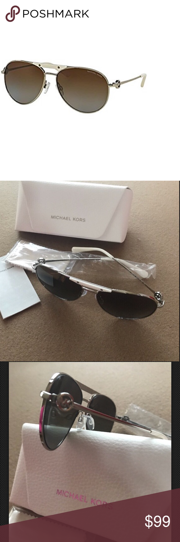 165af781d8 Michael Kors Zanzibar Silver Aviator Sunglasses AUTHENTIC Michael Kors  Zanzibar Sunglasses MK5001 1001T5 Silver Brown Gradient Polarized 58 14 135  BRAND NEW ...