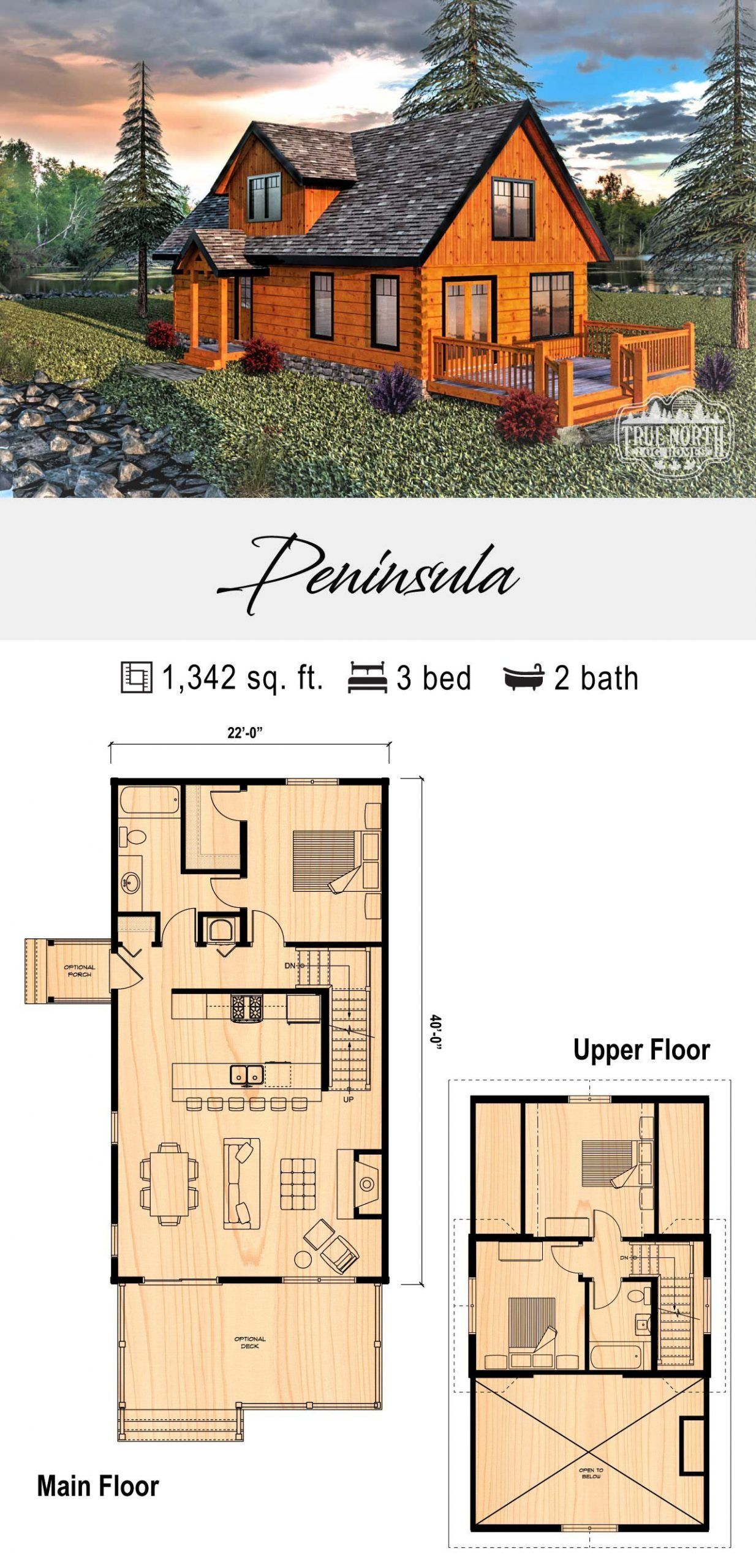 Peninsula True North Log Homes Homes Log North Peninsula True Sims House Plans Cabin House Plans Cottage House Plans