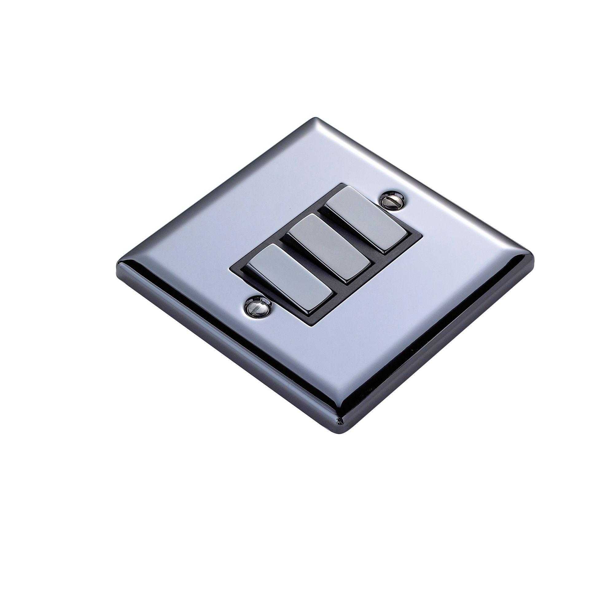 Volex 10ax 2 Way Black Nickel Effect Triple Light Switch