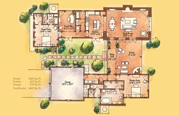 Small hacienda style homes caballo 2 481 sq ft 2 for Adobe house plans with courtyard