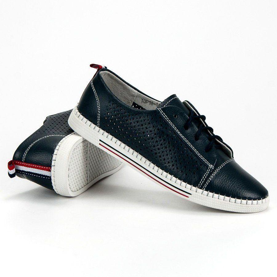 Azurowe Trampki Ze Skory Vinceza Niebieskie Sneakers Shoes Fashion