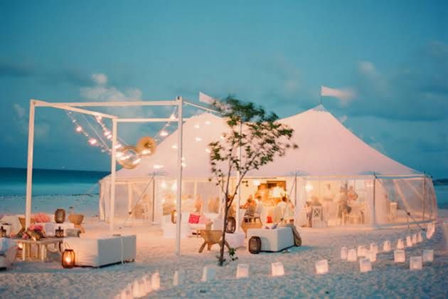 Tented Wedding Reception On The Beach In Bahamas