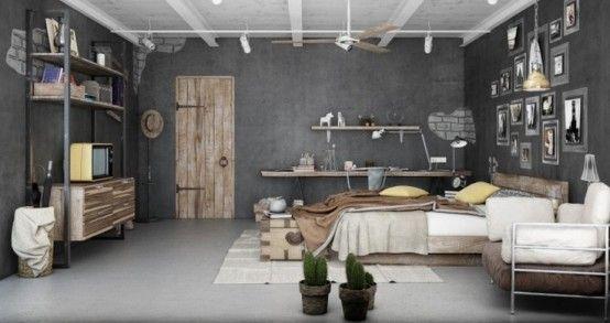 chambre au style industriel avec murs en béton et mobilier en bois