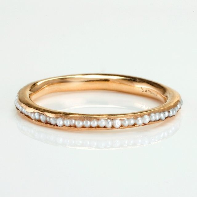 Satomi kawakita pearl ring elegant wedding rings for Pearl engagement ring with wedding band