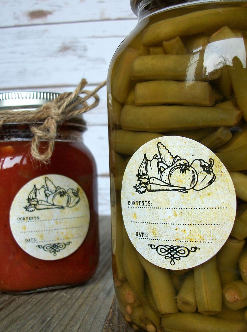 Vintage Whimsical Canning Labels, round jam & jelly mason