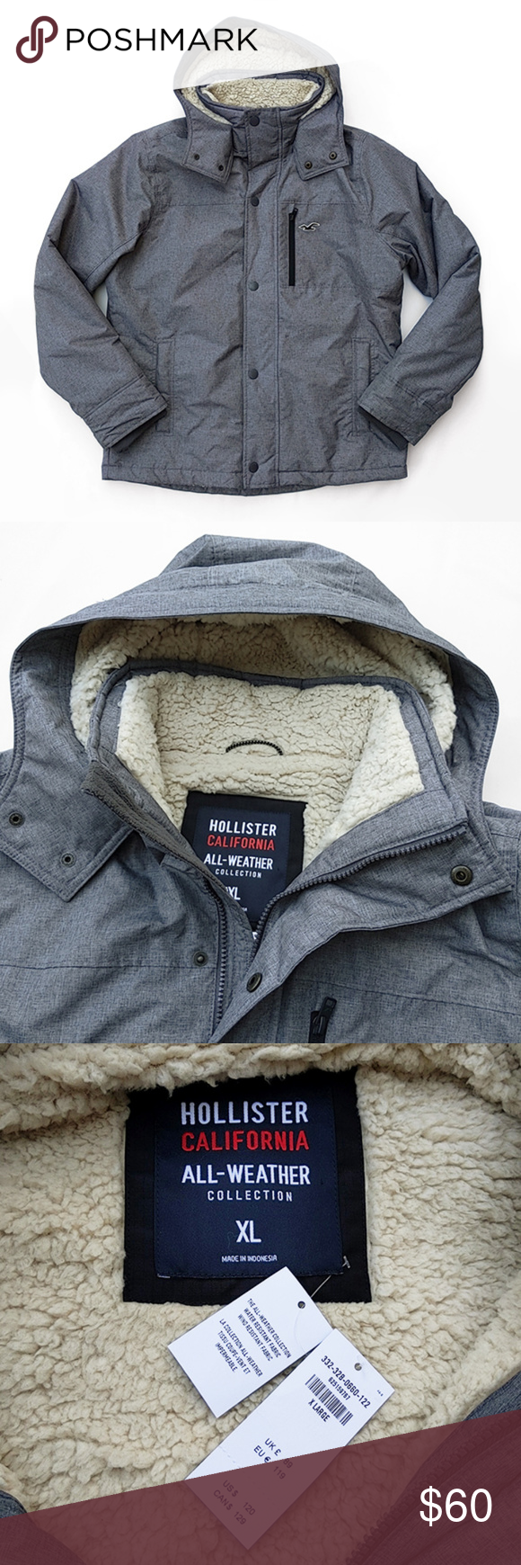 Nwt Hollister All Weather Hooded Winter Jacket Xl Winter Jackets Warm Jacket Hollister [ 1740 x 580 Pixel ]