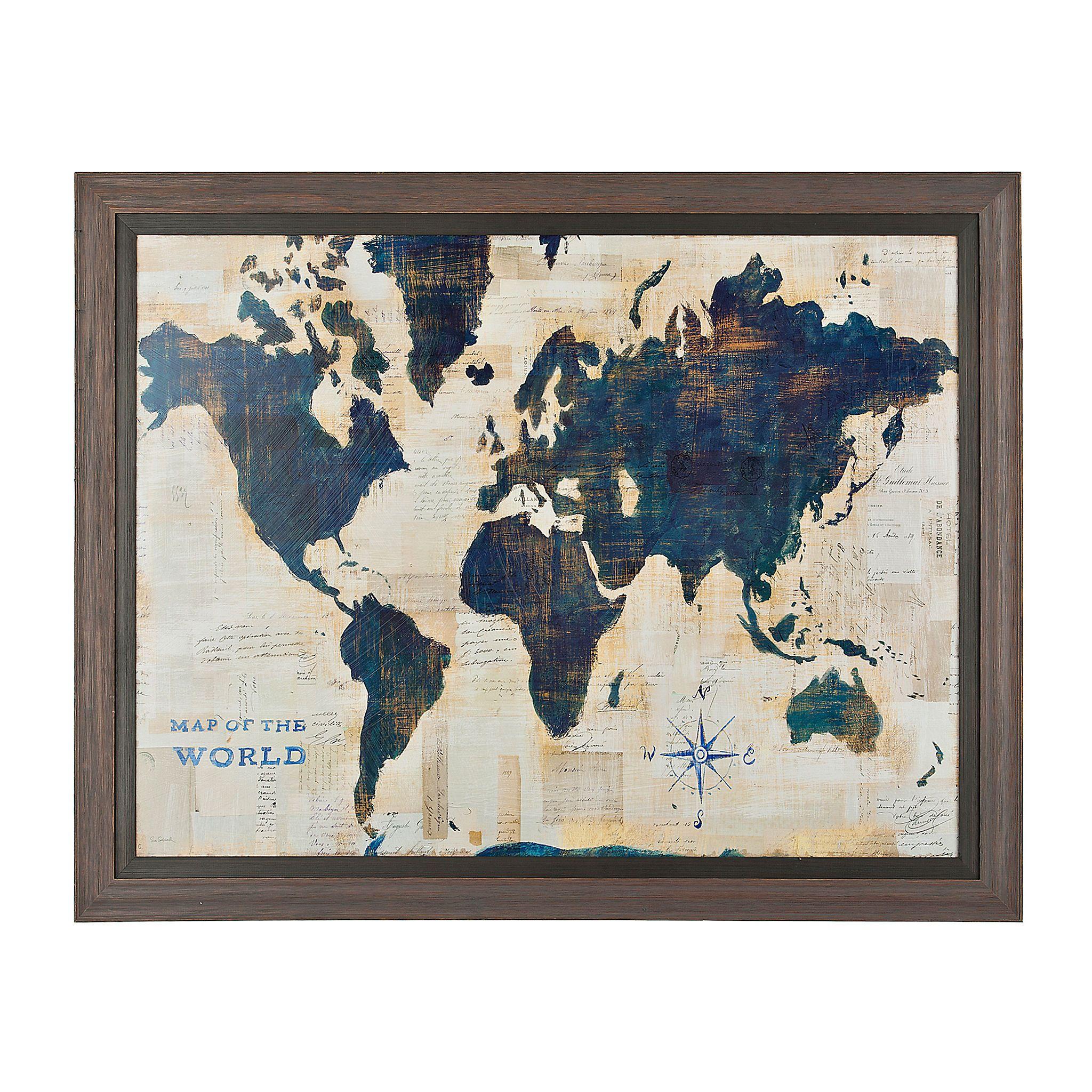 Blue and cream world map framed art print pinterest map frame blue and cream world map framed art print kirklands gumiabroncs Choice Image