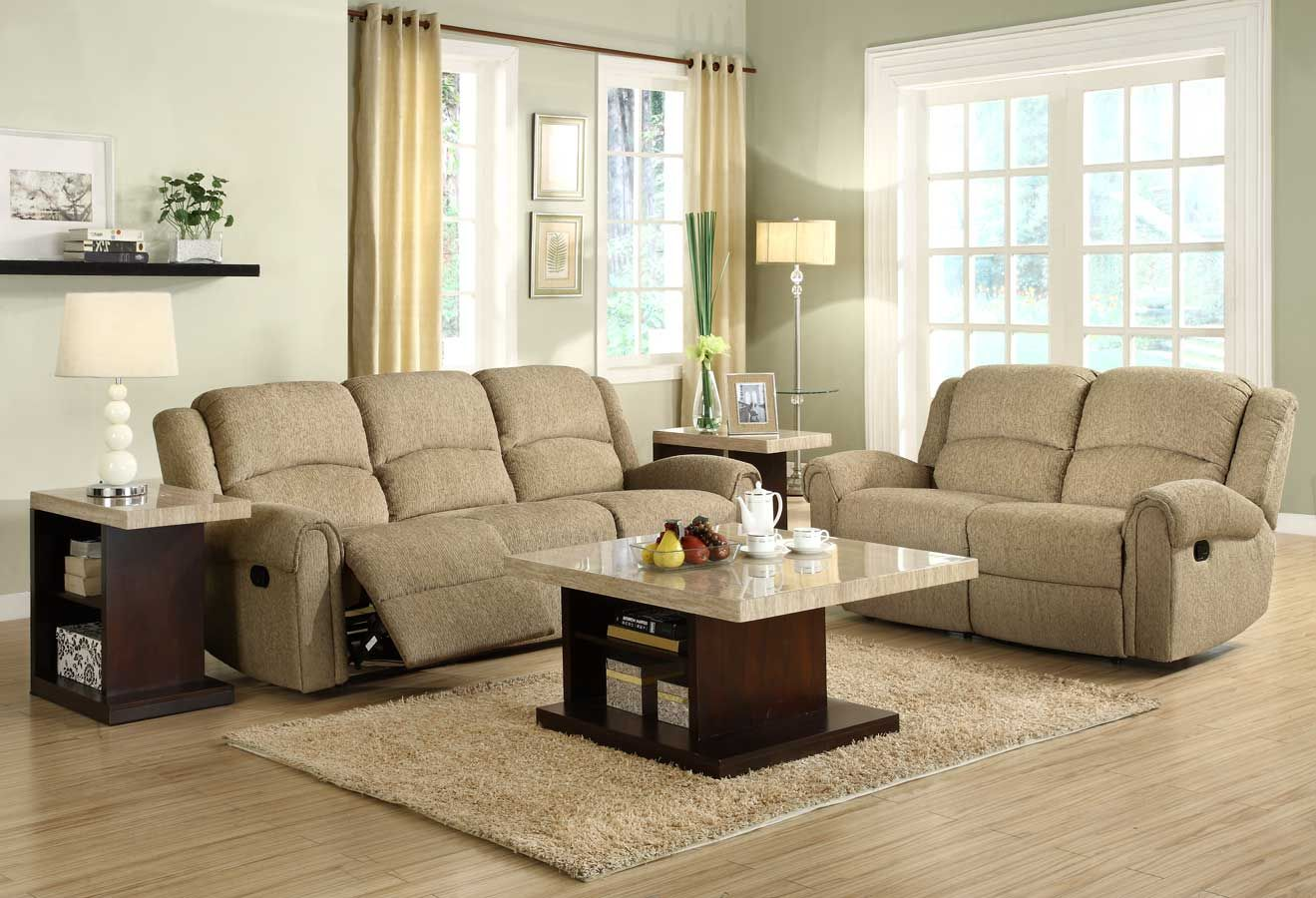 Best Homelegance Esther Reclining Sofa Set Beige Chenille 400 x 300