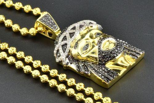 Black Diamond Mini Jesus Face Pendant Piece .925 Yellow Finish Charm & Chain Set