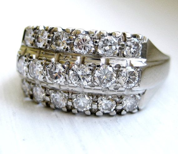RESERVED Vintage 1.00 ct Art Deco 3 row Diamond Anniversary Ring 14kt White  Gold High Quality VS Diamonds SALE