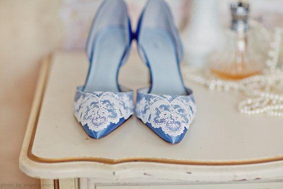 Charming Something Blue Wedding Shoes With Vintage Lace Beccaandlouise