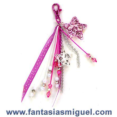 Llavero de estrellas rosa plata con liston manualidades - Manualidades de llaveros ...