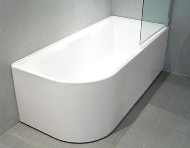 APOLLO CORNER BATH   Stylish Shrouded Corner Bath With Reinforced Steel  Support Frame And Adjustable Legs For Uneven Surfaces.