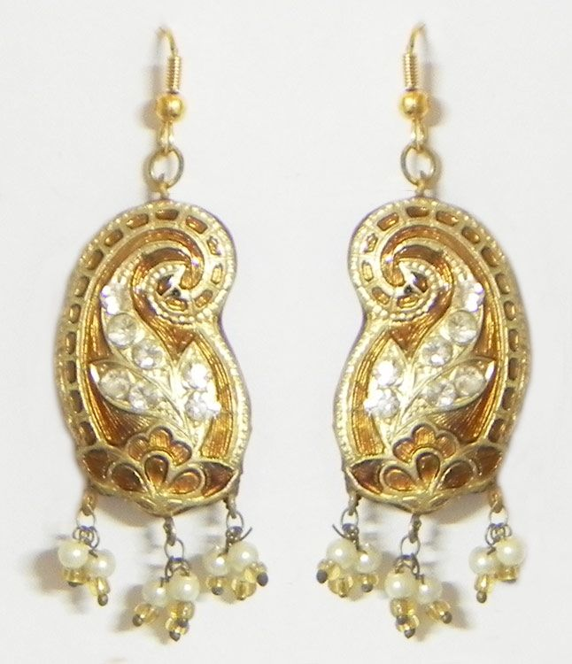 Golden Meenakari Earrings (Lac, Bead and Stone)