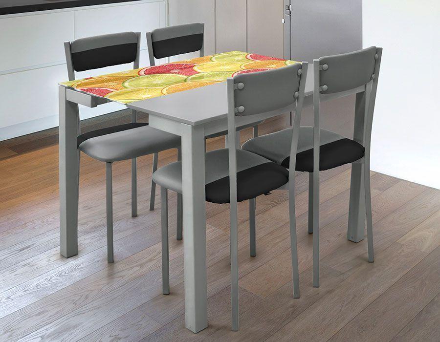 Mesa de Cocina Extensible Ref 8034 Encimera Cristal (2 Extensibles ...