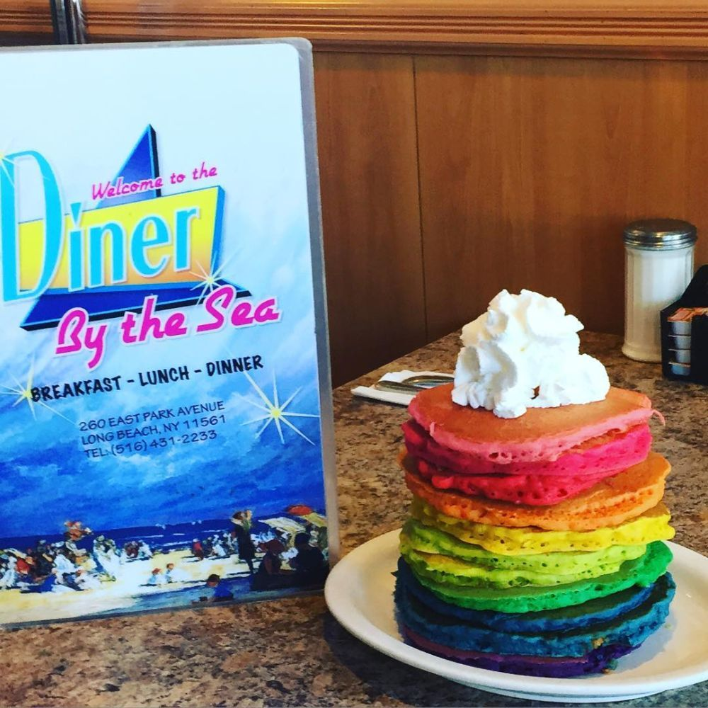 Rainbow Pancakes Served At Diner By The Sea In Long Beach New York