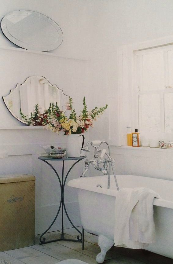 bathroom, old fashioned, romantic, beautiful, bathtub, mirrors ...