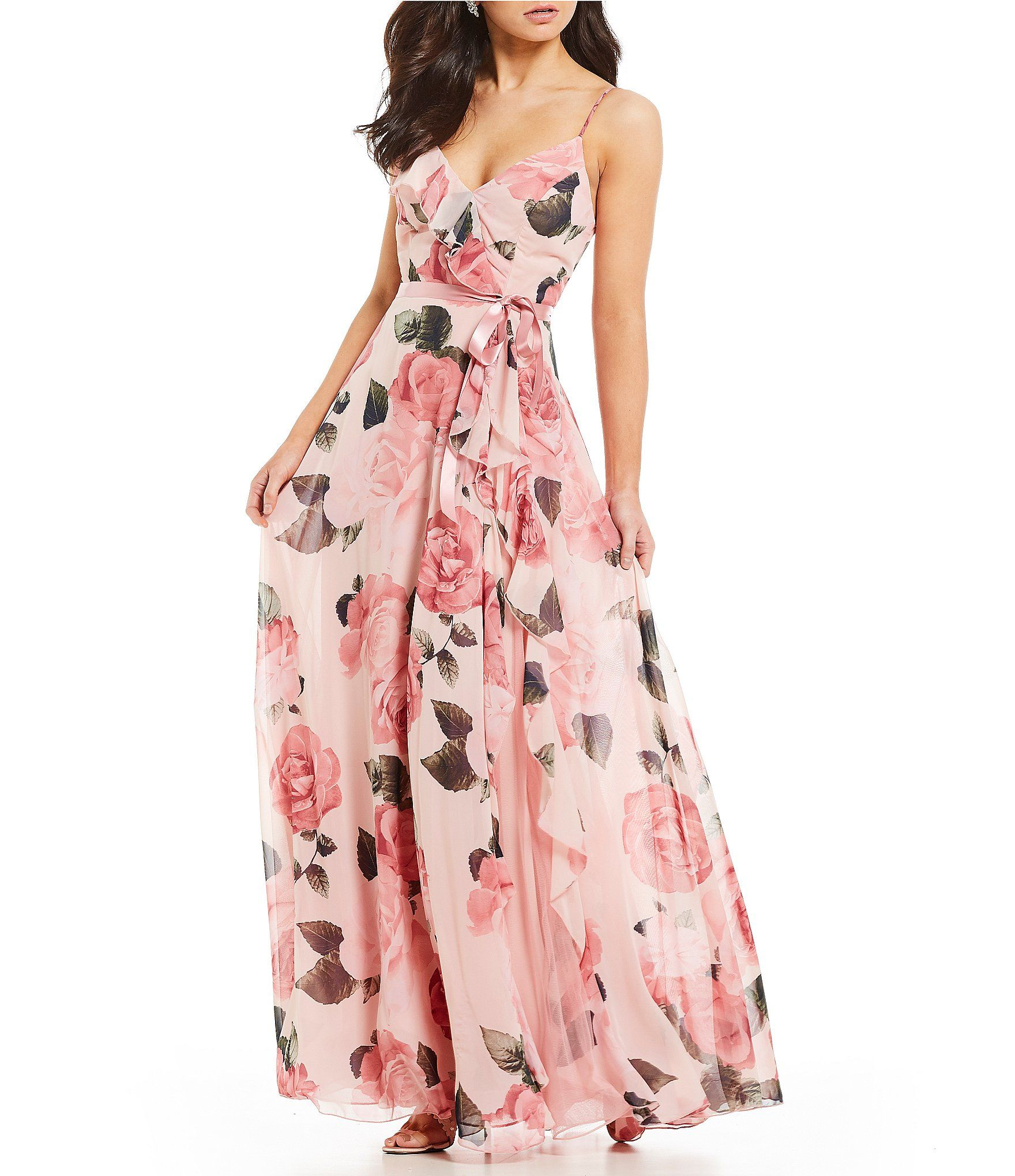 Shop For Teeze Me Floral Print Chiffon Long Dress At Dillards Com Visit Dillards Com To Find Floral Dresses Long Chiffon Dress Long Floral Bridesmaid Dresses