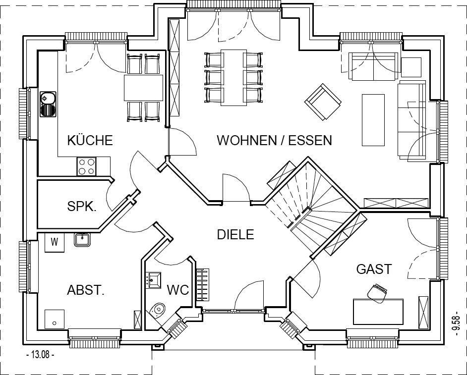 Landhaus grundriss erdgeschoss mit 100 40 m wohnfl che for Haus 100 qm grundriss
