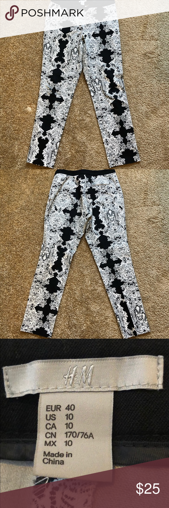 Black and White Slacks Ankle-length pants in cotton/elastin fabric with a regular waist, zip fly, and hook-and-eye fastener. Diagonal side pockets, mock welt back pockets, and legs with creases. H&M Pants Ankle & Cropped #whiteslacks Black and White Slacks Ankle-length pants in cotton/elastin fabric with a regular waist, zip fly, and hook-and-eye fastener. Diagonal side pockets, mock welt back pockets, and legs with creases. H&M Pants Ankle & Cropped #whiteslacks Black and White Slacks Ankle-len #whiteslacks