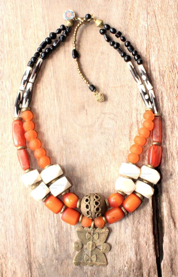Beaded Orange Amber and African Batic by DazzlingGypsyQueen, €149.95