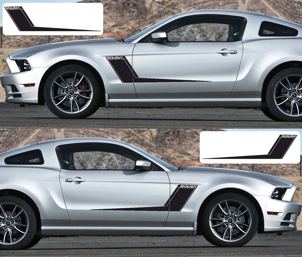 2x Ford Mustang Side Roush Vinyl Decals Graphics Rally Stripe Kit [ 1022 x 1200 Pixel ]