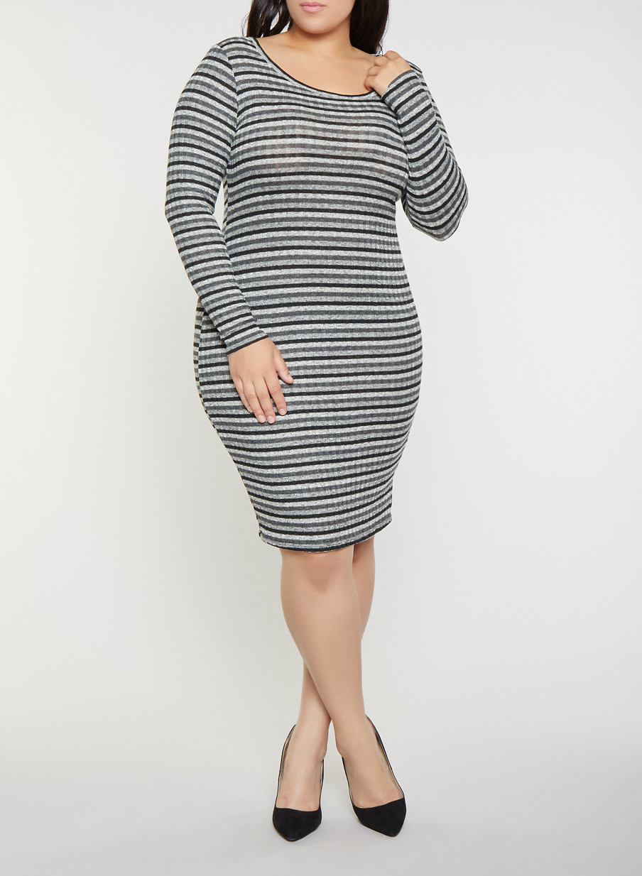 9c4e0ceef03 Plus Size Striped Rib Knit Sweater Dress - BLACK - Size 2X