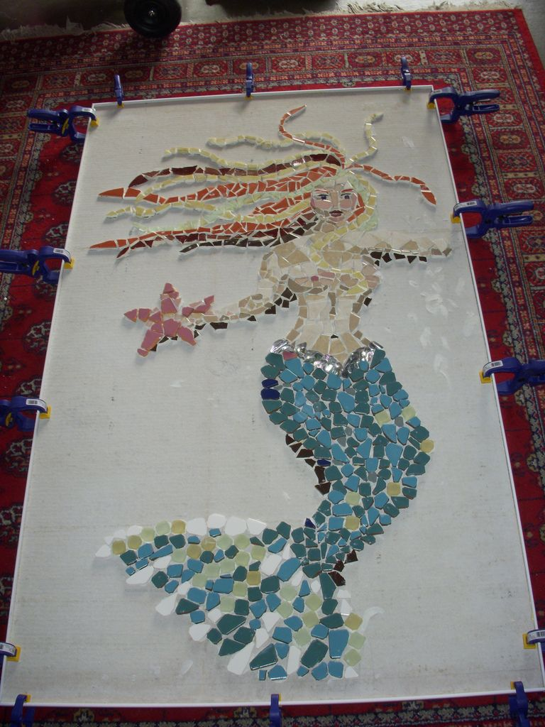 Mermaid and Pink Star Mosaic art, Sea glass art, Sea