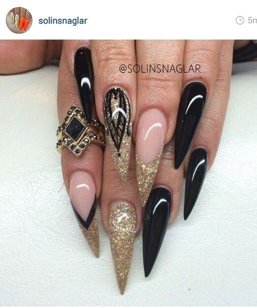 Black And Gold Gold Acrylic Nails Rhinestone Nails Stiletto Nails Designs