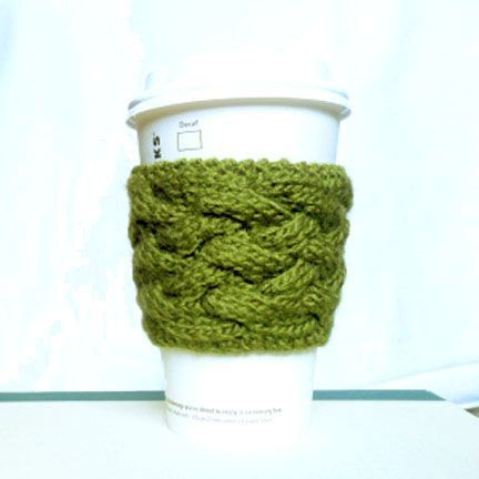 Free knitted woven cable coffee cup sleeve pattern. Go green and not ...