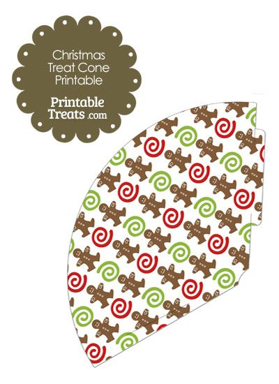 Gingerbread Cookie Printable Treat Cone from PrintableTreats.com