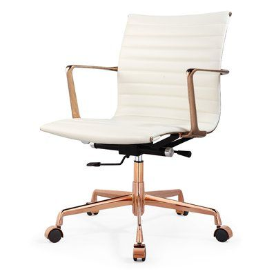 superior quality f788d 25ab6 Meelano Aniline leather Office Chair Color: Soft White ...