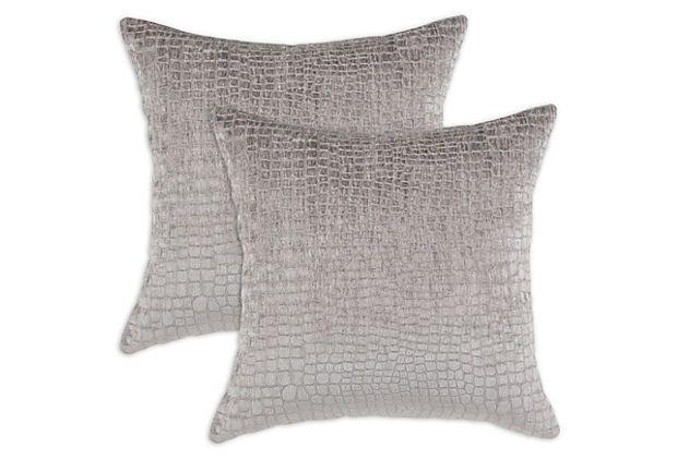 S/2 Crocodile 17x17 Pillows, Silver on OneKingsLane.com