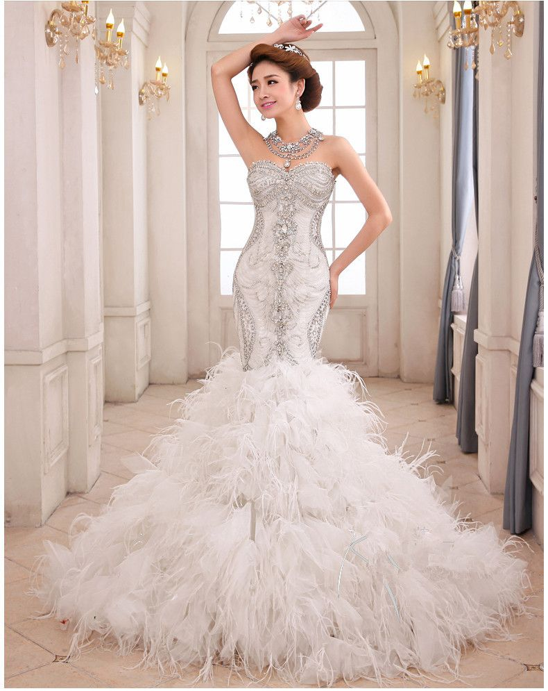 Feather Mermaid Wedding Dress