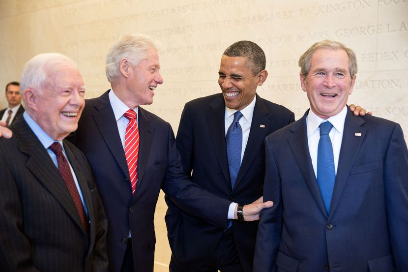 President Barack Obama laughs with former Presidents Jimmy Carter, Bill Clinton, and George W. Bush, prior to the dedication of the George W. Bush Presidential Library and Museum on the campus of Southern Methodist University in Dallas, Texas, April 25... #presidents