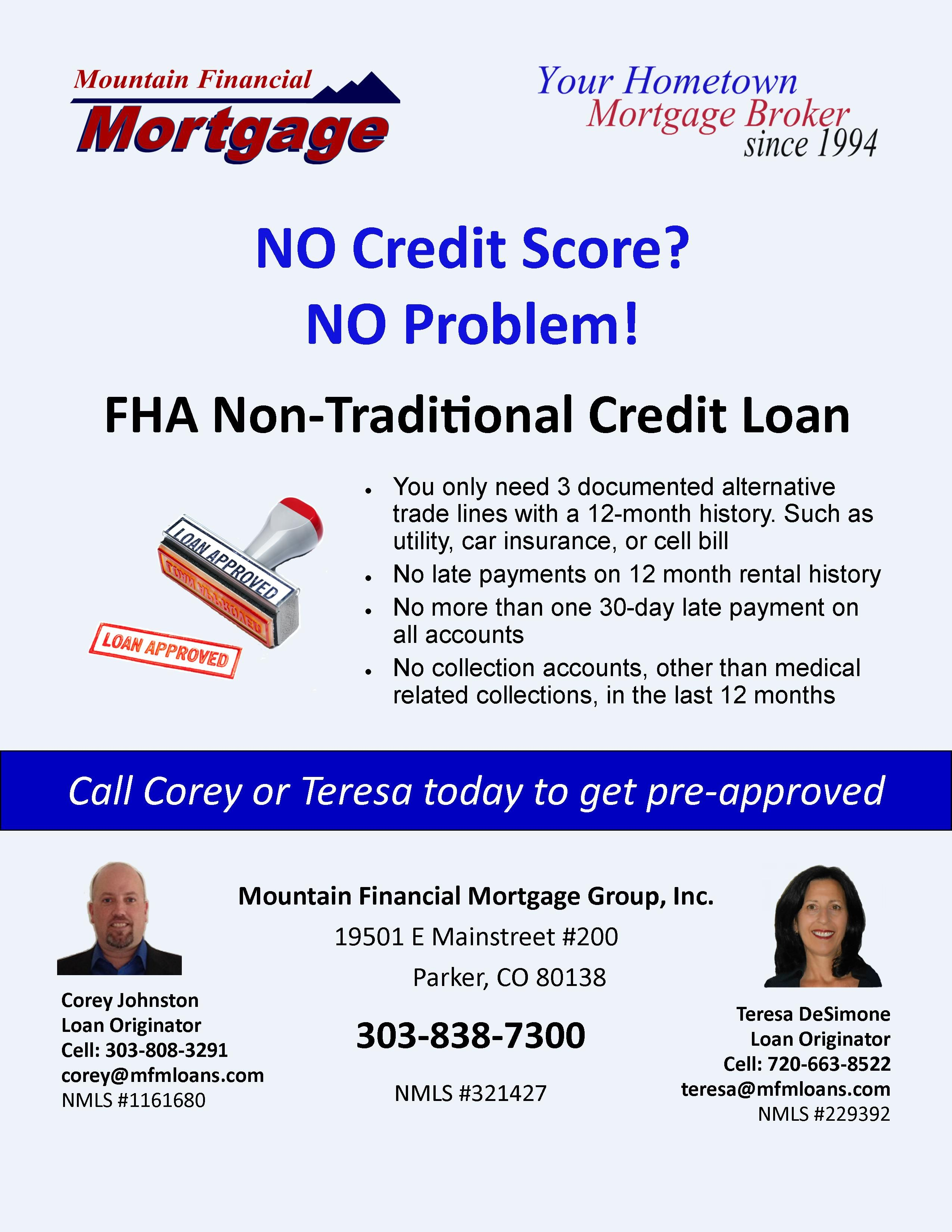 No Credit Score Needed With The Fha Non Traditional Credit Loan