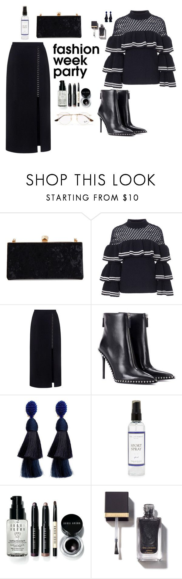 """Nocturnal Events"" by flarewitchproject ❤ liked on Polyvore featuring Jimmy Choo, self-portrait, A.L.C., Alexander Wang, Oscar de la Renta, The Laundress, Bobbi Brown Cosmetics, Ray-Ban and afterparty"