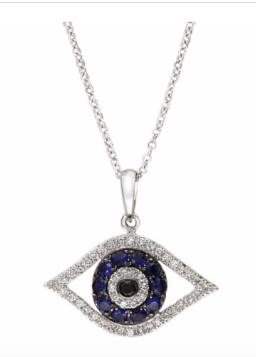 New effy royale bleu sapphire diamond white gold evil eye pendant new effy royale bleu sapphire diamond white gold evil eye pendant necklace aloadofball Gallery