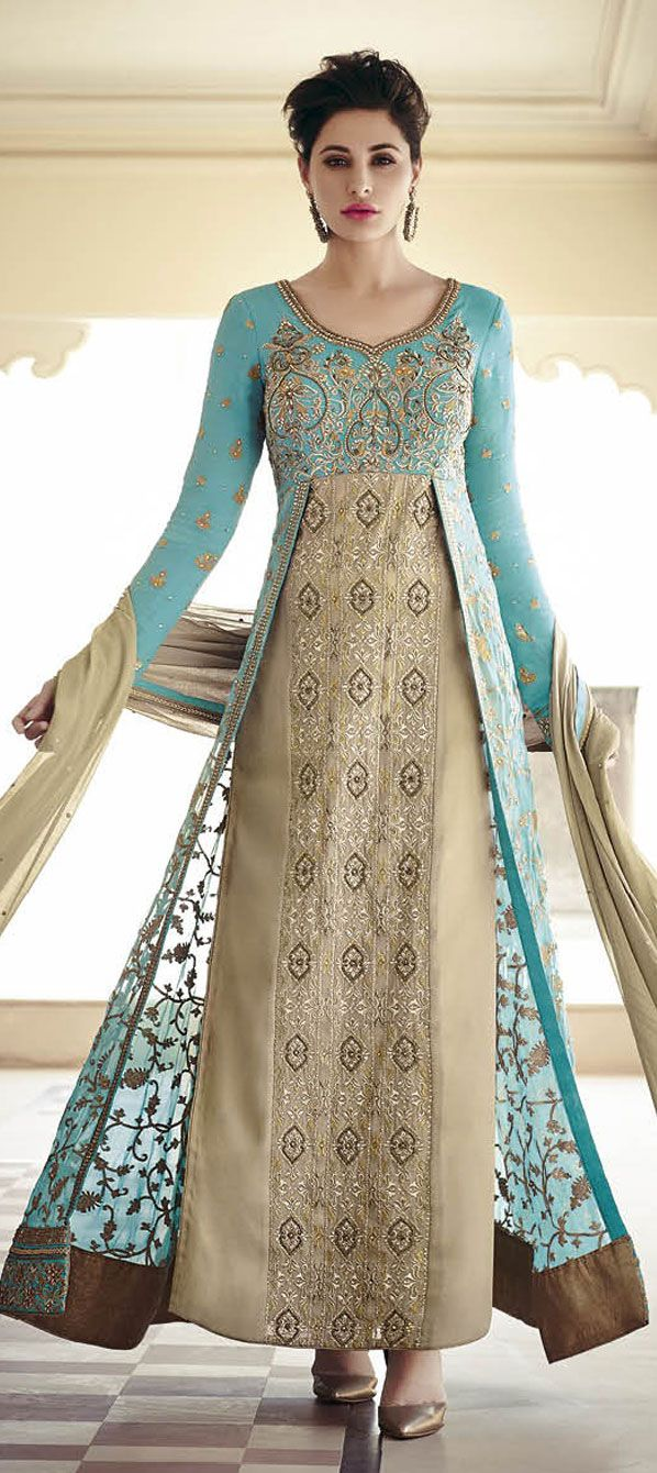132p 456606: Beige and Brown,Blue color family stitched Party Wear ...