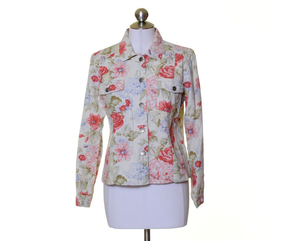 Coldwater Creek Off White Pink Blue Green Floral Cotton Button Jacket Size S #ColdwaterCreek #BasicJacket