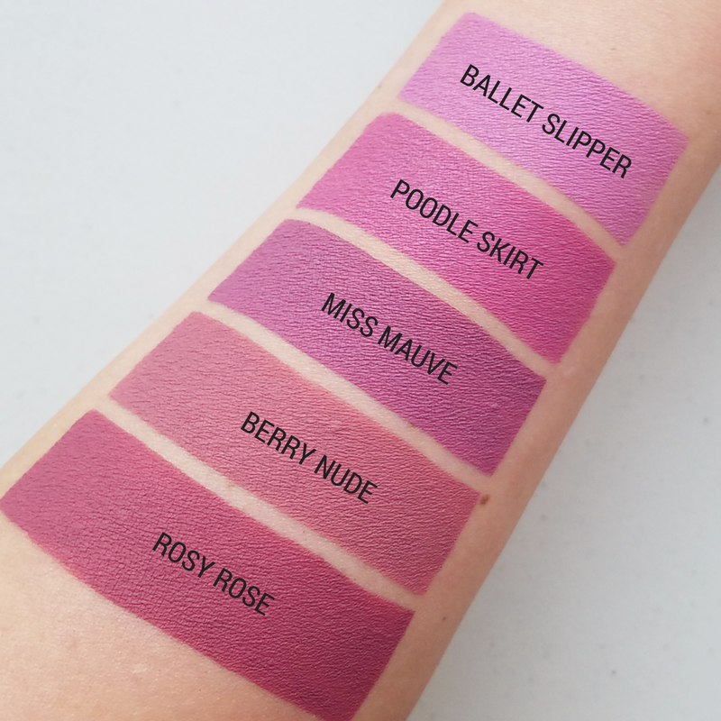 Aromi pink and mauve liquid lipstick swatches - each shade is gluten free, vegan, cruelty-free, and crafted by hand in small batches.  #pinklipstick #mauvelipstick #roselipstick #veganlipstick #liquidlipstick