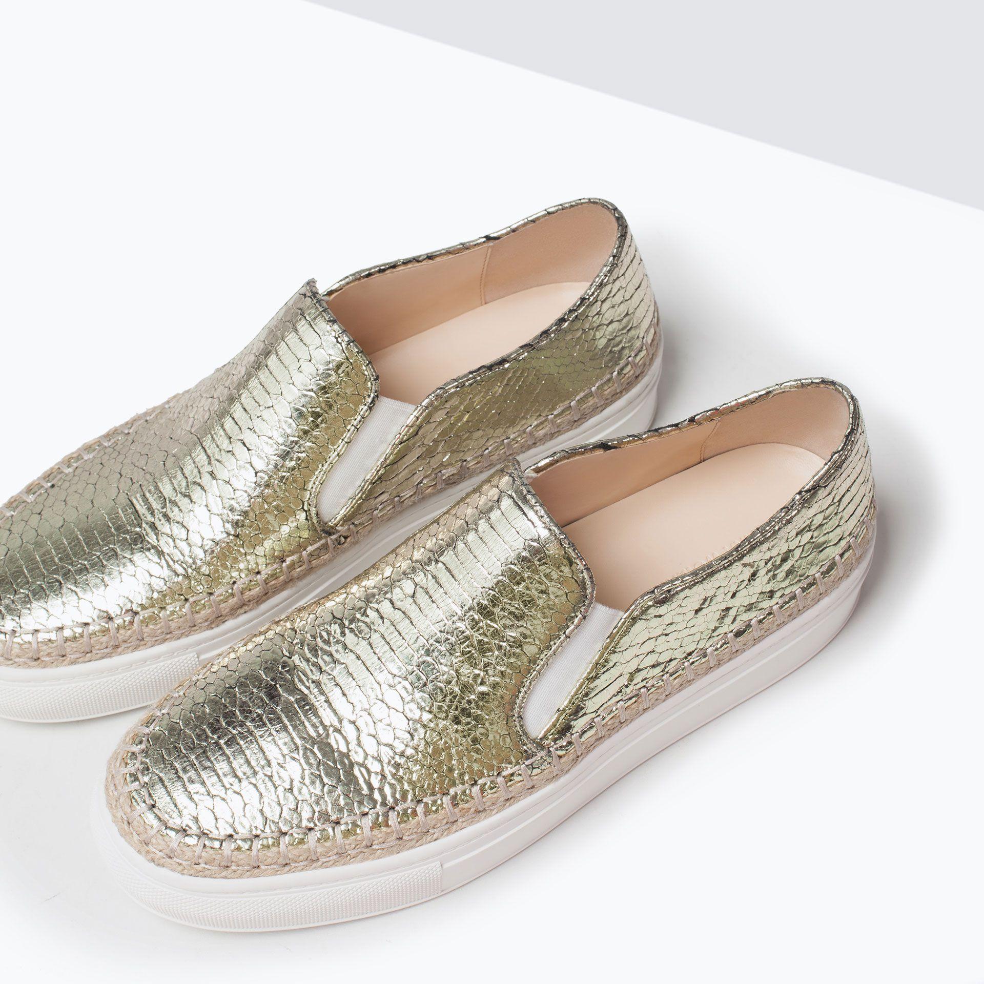 84eeeb682 TENNIS EN CUIR GRAVÉ - Chaussures - FEMME | ZARA France | shopping ...
