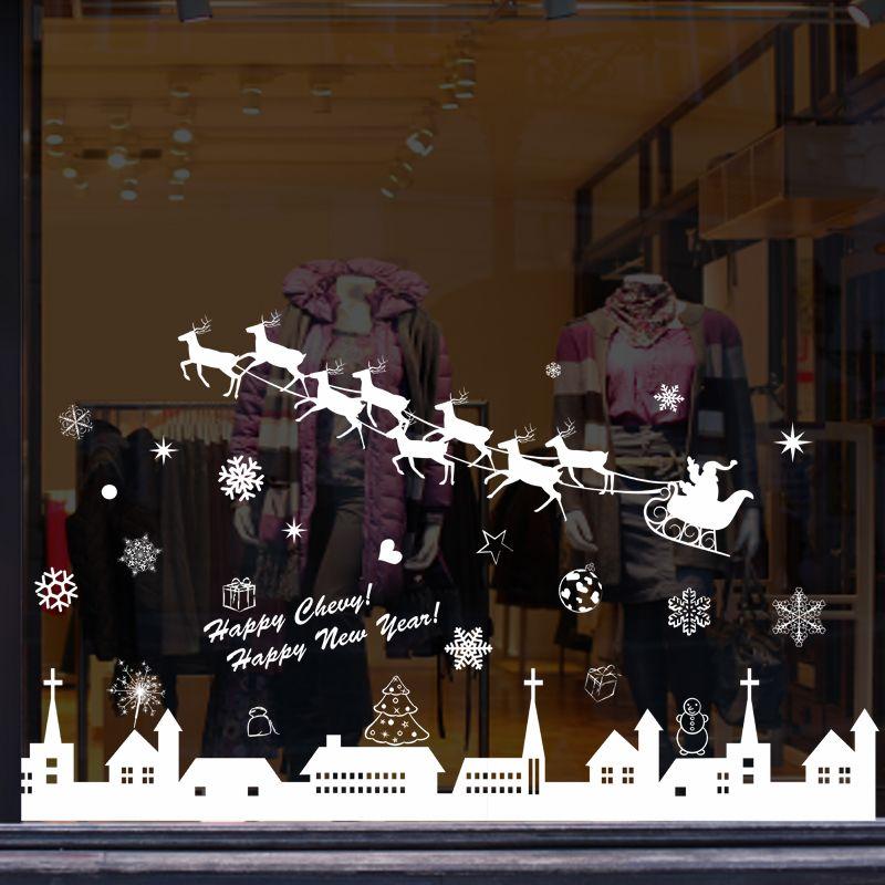 Santas Living Room Wall Stickers Shop Mall Glass Door Window