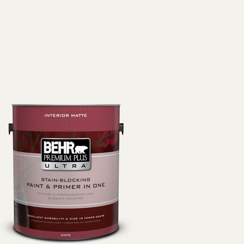 Behr Ultra 5 Gal Pr W14 Bit Of Sugar Flat Exterior Paint And Primer In One 485005 The Home Depot Interior Paint Painted Floors Behr Premium Plus Ultra