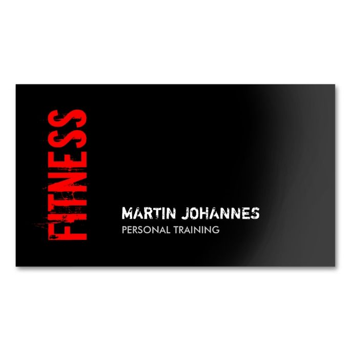 Red black fitness personal trainer business card reheart Gallery