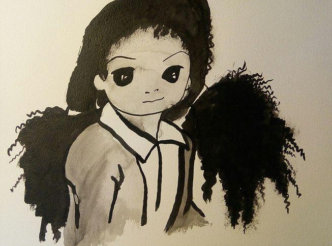 natacha sillegue sur etsy, portrait enfant, aquarelle, encre de chine, illustration