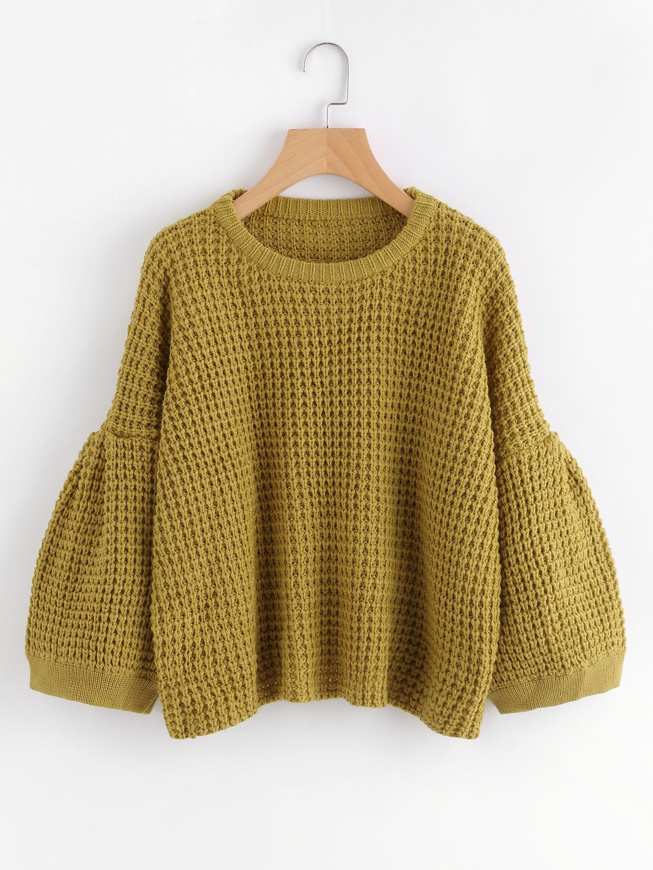 21439b0fe8328 Material: 100% Acrylic Color: Mustard Pattern Type: Plain Neckline: Round  Neck Style: Casual, Cute Types: Oversized Items: Pullovers Sleeve Length:  Three ...
