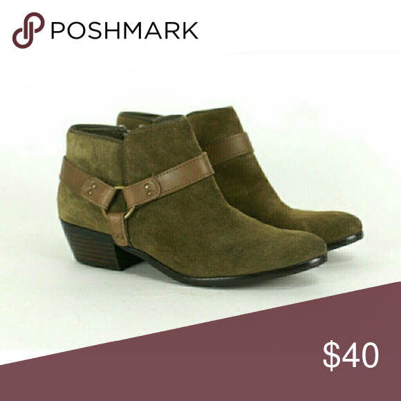 a49cd2565a94 Sam Edelman Phoenix Booties Low booties Olive green suede like with brown  buckle Size 6.5 In good preowned condition Sam Edelman Shoes Ankle Boots    Booties